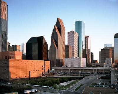 Skyline, Looking South, RepublicBank Center, Houston, Texas, USA, 1988 © Edward Burtynsky 2016. Courtesy Flowers Gallery, London / Metivier Gallery, Toronto.
